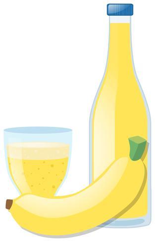 Färsk banan och juice i glas vektor