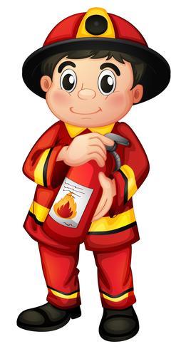 En brandman med en brandsläckare vektor