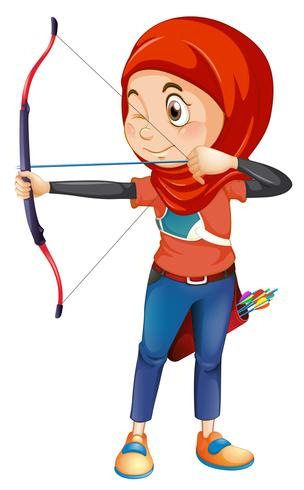 En muslimsk bågskytte på whiye bakgrund vektor