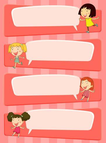 Sprechblasendesigns mit Kindern vektor