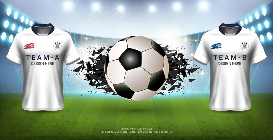 Fotbollsturneringsmall för sportevenemang, Fotbollströmsmock-up-lag A mot lag B. vektor