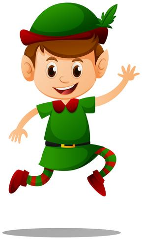 Hübscher Elf, der grünes Kostüm trägt vektor