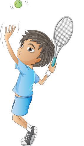 Ein kleiner Junge, der Tennis spielt vektor