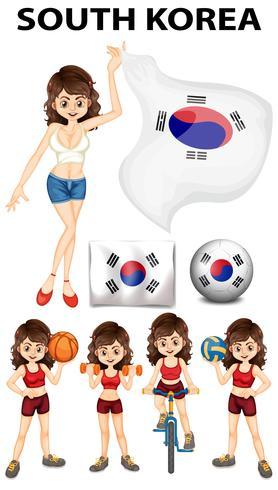 Südkorea Vertreter und viele Sportarten vektor