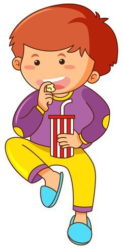 Kleiner Junge, der Imbiß isst und Soda trinkt vektor