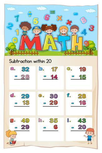 Math kalkylbladmall för subtraktion inom tjugo vektor