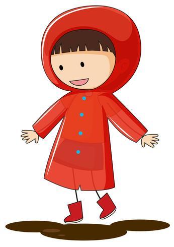 Ein Gekritzelkindertragender Regenmantel vektor