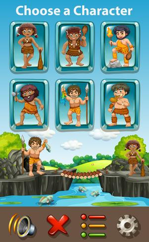 Caveman Charater Spielvorlage vektor