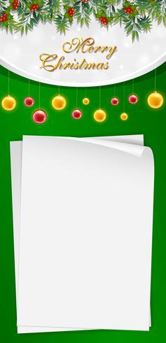 Weihnachtskartenschablone mit grünem Hintergrund vektor