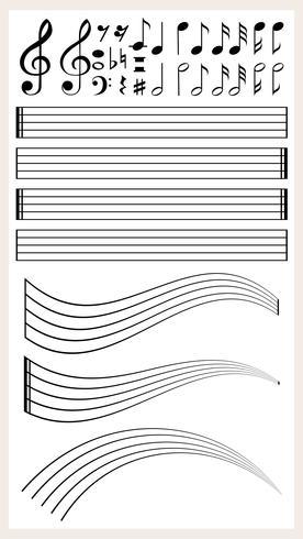 Leeres Notenpapier mit verschiedenen Noten vektor