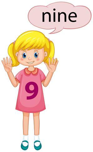 Mädchen mit der Nummer neun vektor