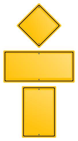 Gelbe Schilder in drei Formen vektor