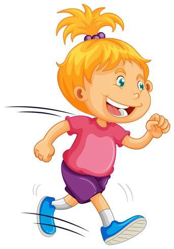 Ein Kind, das auf weißem Hintergrund läuft vektor