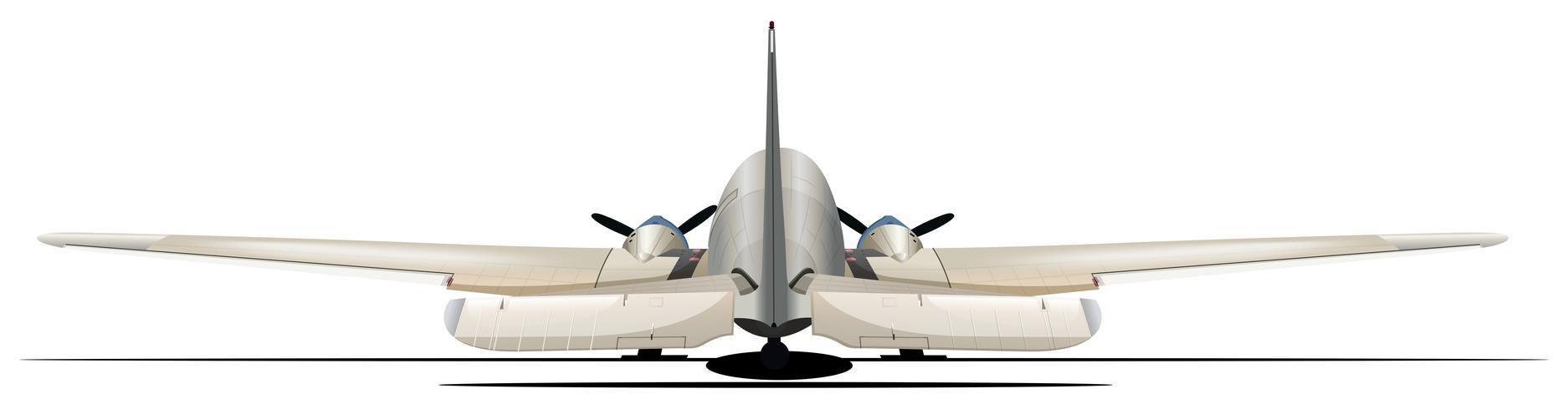 Flugzeug aus der Rückansicht vektor