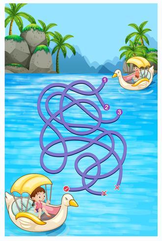 Spielschablone mit den Kindern, die Boote reiten vektor