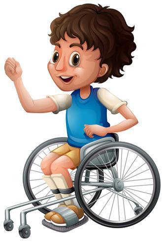 Fröhlicher Junge im Rollstuhl vektor