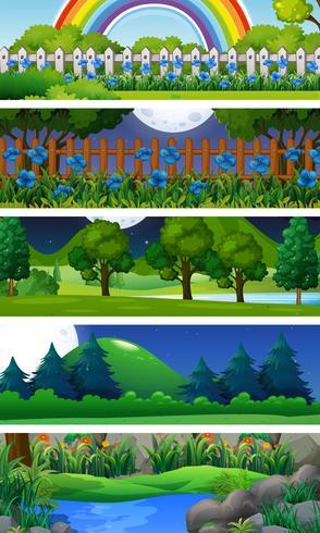 Fünf Naturszenen mit Bäumen vektor