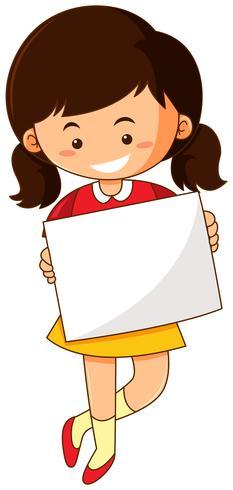 Glückliches Mädchen, das Weißbuch hält vektor