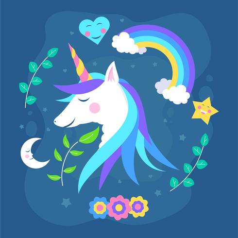 Einhorn-Büste, umgeben von Blumen, Mond und Sternen vektor
