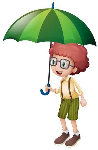 Liten pojke och grönt paraply vektor