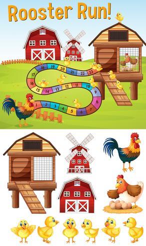 Brettspielschablone mit Hühnern auf Hof vektor