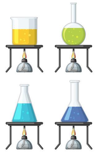 Fyra bägare med färgglad vätska vektor
