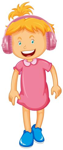 Tragender Kopfhörer des kleinen Mädchens vektor