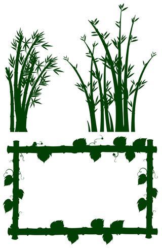 Schattenbildrahmen mit Bambusbaum vektor