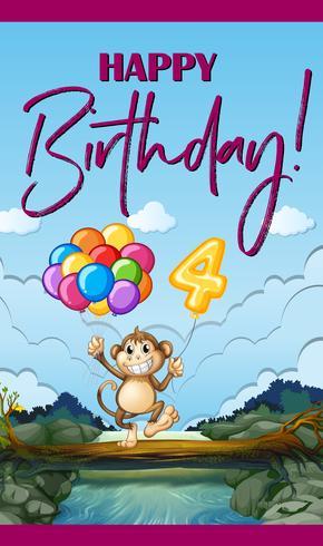 Alles Gute zum Geburtstagkarte mit Affen und Ballonen vektor