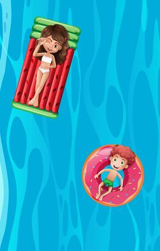 Zwei Kinder, die auf inflatables sich entspannen vektor