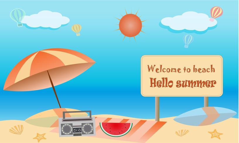 Vektor des Sommerstrand-Tätigkeitskonzeptes, Willkommen zum Feiertagssommer