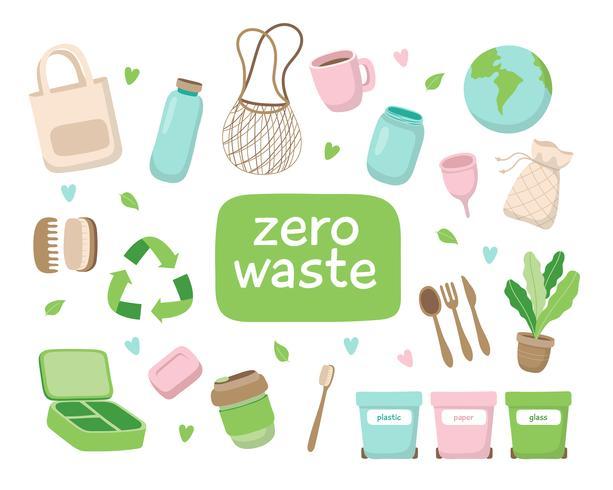 Abfallfreie Konzeptillustration mit verschiedenen Elementen. Nachhaltiger Lebensstil, ökologisches Konzept. vektor