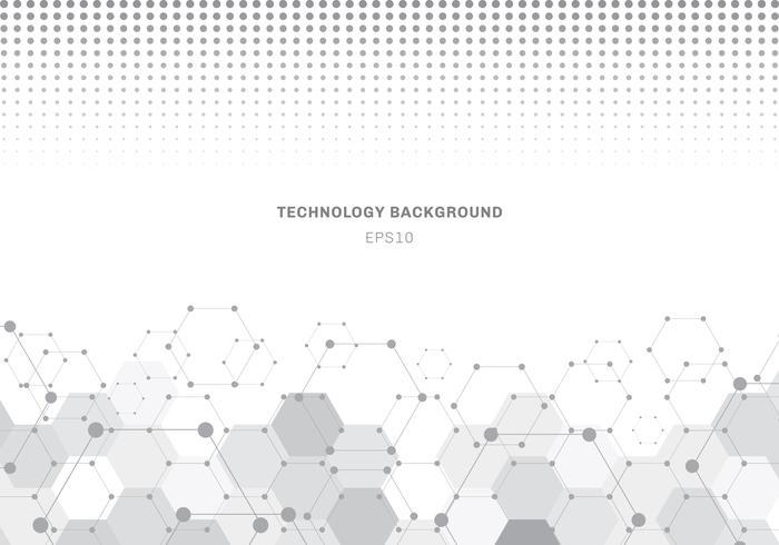 Abstraktes graues Hexagonmustermolekül auf weißem Hintergrund mit Halbtonbeschaffenheit. Geometrische Elemente für moderne Kommunikationen, Medizin, Wissenschaft und Digitaltechnik der Designschablone. vektor