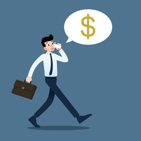 Geschäftsmann, der mit Handy über Gewinn und Marketing während des Gehens zur Arbeit spricht. vektor
