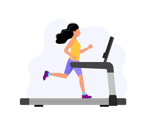 Frau, die auf der Tretmühle, Konzeptillustration für Sport, trainierend, gesunder Lebensstil, Herz Aktivität läuft. vektor