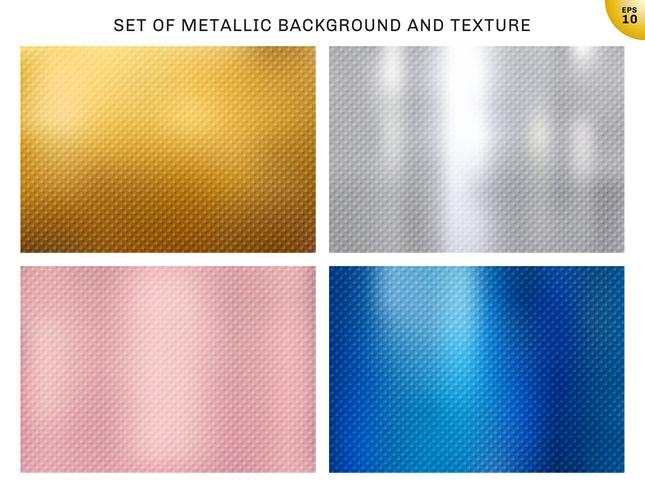Set av metalliskt guld, rosa guld, silver, blå metallkorgar mönsterstruktur och bakgrund. Gyllene folie lyxstil för broschyr, bröllopskort, affisch, banderoll. vektor