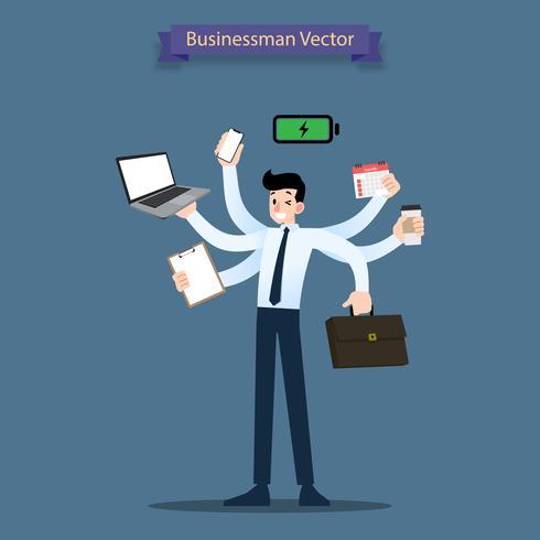 Glad affärsman med många händer har multitasking och multi-kompetens och produktivitet kraftfullt arbetsbelastningskoncept. vektor