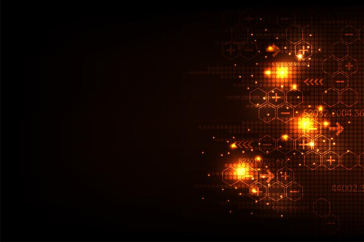 Vector abstrakte Hintergrundtechnologie im digitalen Konzept auf einem dunkelorangen Hintergrund.