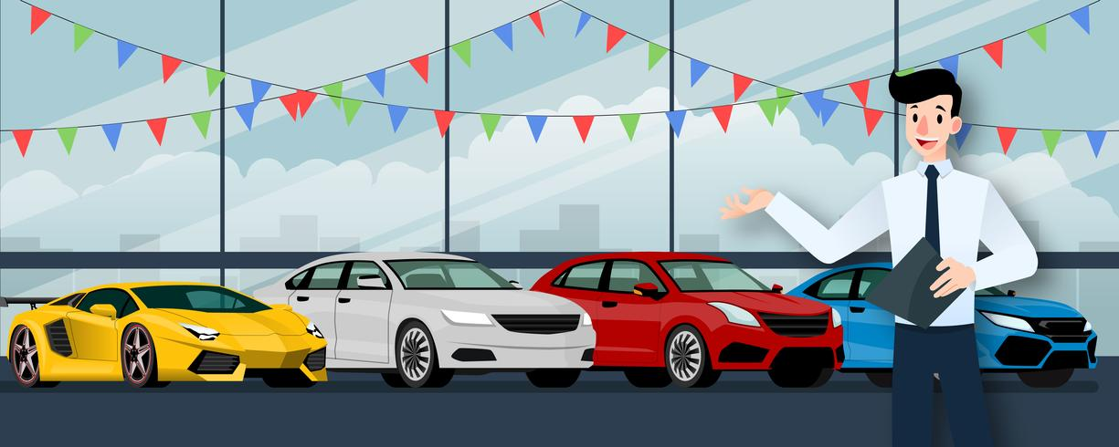 Glad affärsman, säljare står och håller ett urklipp framför grupp lyxbil som parkerar i stort showroom i staden. vektor