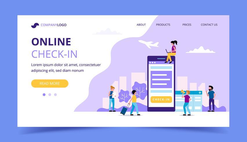 Online-Check-in-Landingpage, Konzeptillustration mit Smartphone, Bordkarte. Kleine Leute, die verschiedene Aufgaben erledigen. vektor