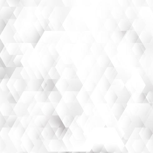 Abstrakta vita och grå geometriska hexagoner formar överlappande bakgrund. vektor