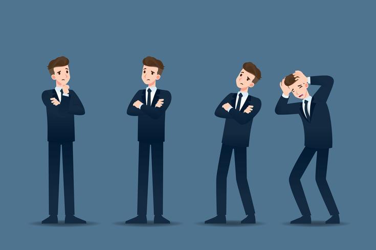 Sats av affärsman i 4 olika gester. Människor i affärer karaktär utgör som tänkande, oro. Vektor illustration design.