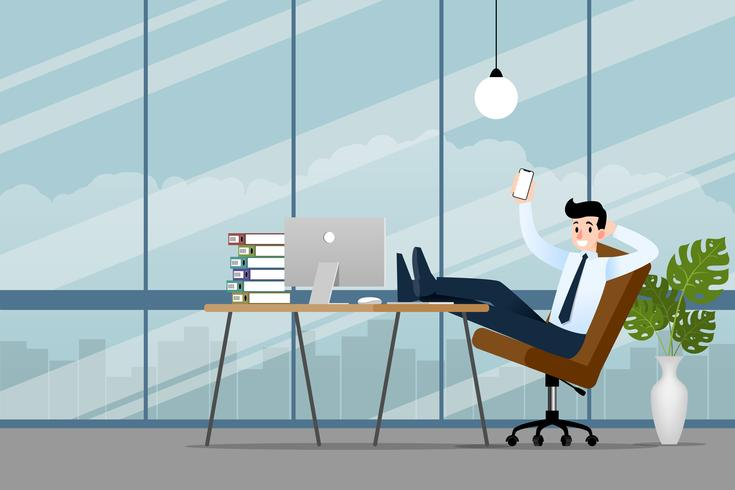 Glücklicher Geschäftsmann, der im Büro mit seinem Smartphone, Handy arbeitet, um sein Geschäft erfolgreich zu machen und mehr Gewinn zu erzielen. Vektor-Illustration-Design. vektor