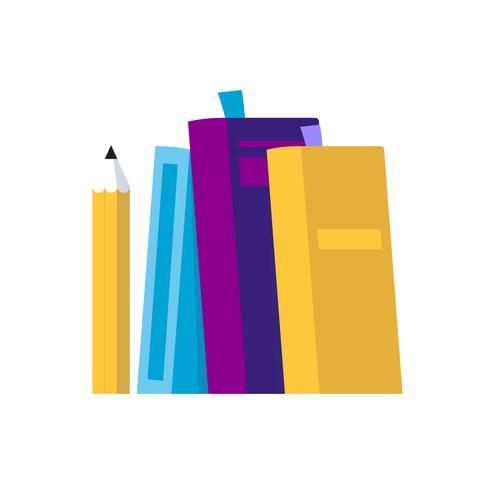 Böcker och penna - isolerad vektor illustration i platt stil, ikon för lärande, studerande, utbildning, universitet