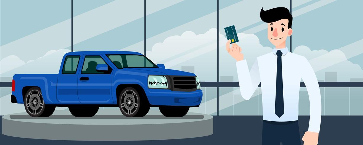 Glad affärsman, säljare står och innehar kreditkort framför blå pickup truck som parkerar i stort showroom i staden. vektor