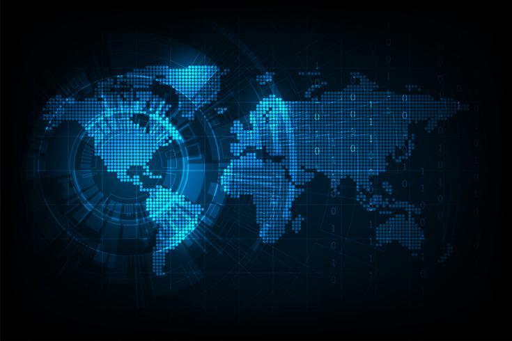 Vektor världskarta i digitalt format.