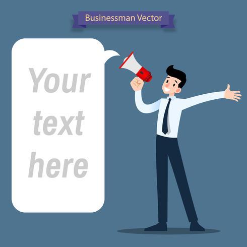 Der Geschäftsmann, der durch ein Megaphon spricht, eine Mitteilung machend, die schreit, um die Wörter für zu verbreiten, ziehen Leute an. vektor