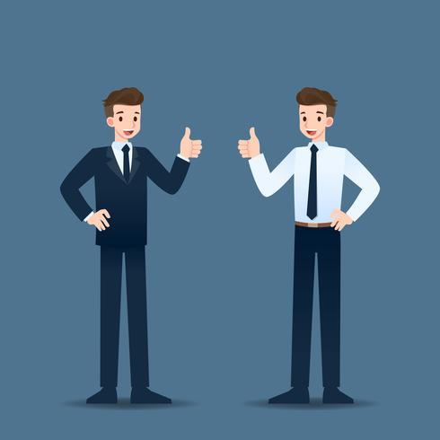Leende affärsman står och tumme upp till glad för sin framgångsrika karriär. vektor