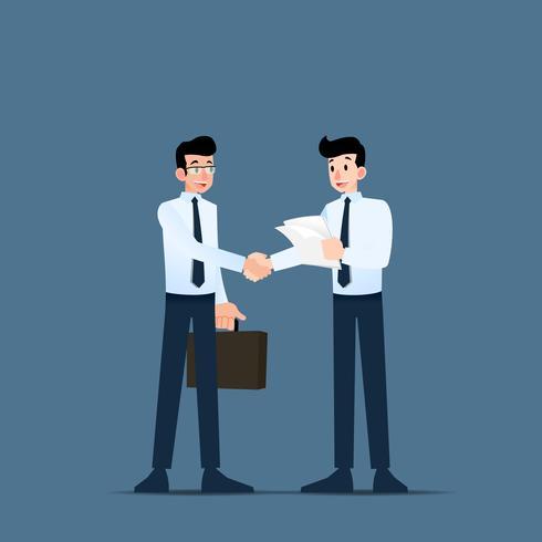 Två affärsmän står och skakar hand om varandra för samarbete och gör en affär. vektor