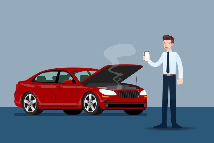 Geschäftsmann, der einen Handy und einen Anruf für Versicherung hält, als sein Auto defekt war. vektor